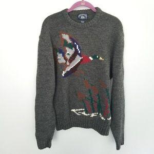 {Vintage}Gray Duck Crewneck Knit Wool Sweater Sz M
